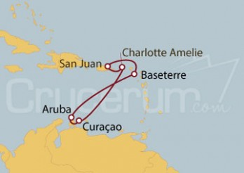 Crucero San Juan (Puerto Rico), Islas Vírgenes, Curaçao, Aruba