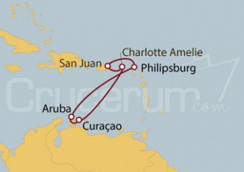 Crucero San Juan (Puerto Rico), Islas Vírgenes, Curaçao, Aruba, St.Marteen