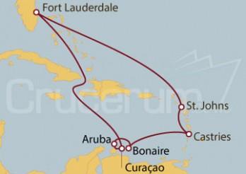 Crucero Fort Lauderdale (EEUU), Curaçao, Aruba, Bonaire, Antillas, Antigua