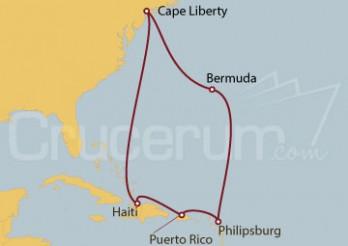 Crucero Cape Liberty (N. Jersey), Bermuda, St.Marteen, Puerto Rico, Haití
