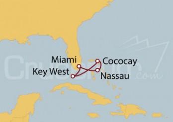 Crucero Miami (EEUU), Nassau, Cococay, Bahamas, Key West