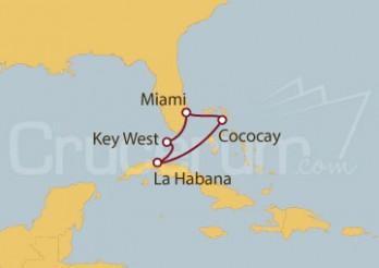 Crucero Miami (EE UU), Key West, La Habana y Cococay (Bahamas)