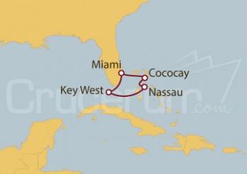Crucero Miami (EEUU), Cococay, Nassau, Bahamas, Key West