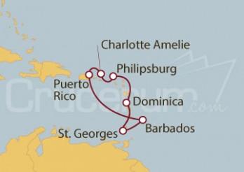 Crucero San Juan (Puerto Rico),  Barbados, Granada, Dominica, St. Marteen, Islas Vírgenes