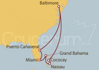 Crucero Baltimore, Meriland (EE.UU.), Florida, Miami, Grand Bahama, Bahamas
