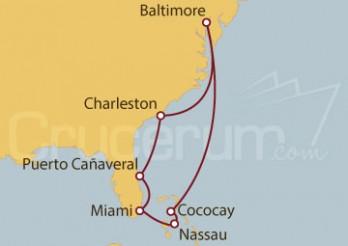 Crucero Baltimore, Meriland (EE.UU.), Carolina del Sur, Florida, Miami, Cococay, Nassau, Bahamas