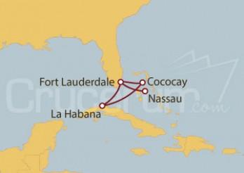 Crucero Fort Lauderdale (EE UU), Cococay (Bahamas) y La Habana