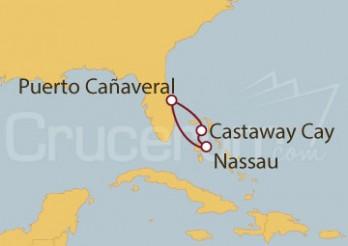 Crucero Puerto Cañaveral (Florida), Nassau (Bahamas), Disney Castaway Cay