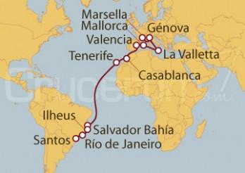 Crucero De Marsella (Francia) a Santos (Brasil)