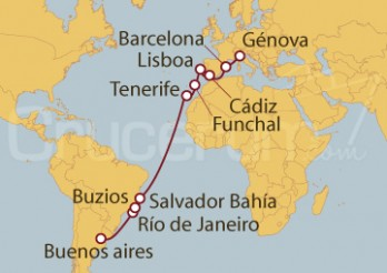 Crucero De Génova (Italia) a Santos (Brasil)