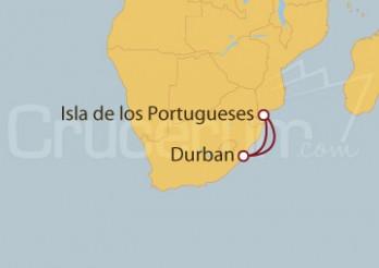 Crucero Durban (Sudáfrica) e Isla de los Portugueses
