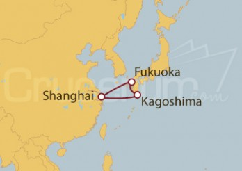 Crucero Shanghai (China), Kagoshima, Fukuoka (Japón)