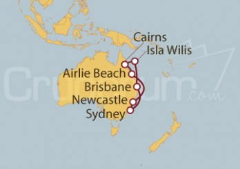 Crucero Sydney (Australia), Newcastle, Airlie Beach, Isla Willis, Brisbane