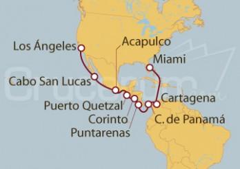 Crucero Miami (EEUU), Colombia, Canal de Panamá, Costa Rica, Nicaragua, Guatemala, México y Los Ángeles (EEUU)
