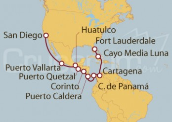 Crucero San Diego (EEUU), México, Guatemala, Nicaragua, Costa Rica, Canal de Panamá, Colombia, Bahamas,  Fort Laurderdale (Miami)