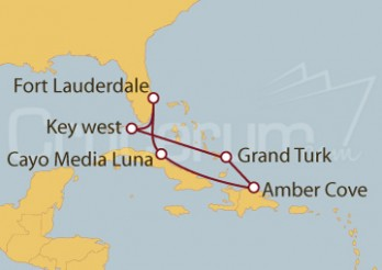 Crucero Fort Lauderdale (EEUU), Key West, Islas Turcas, Rep. Dominicana y Bahamas
