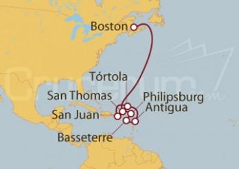 Crucero Boston (EEUU), Antigua, Martinique y Antillas