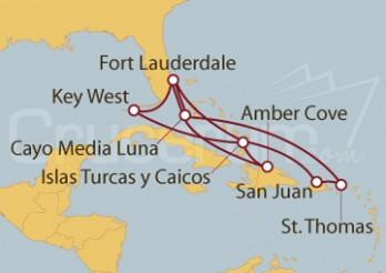 Crucero Fort Lauderdale y Key West (EE UU) , Islas Turcas, Rep. Dominicana, Bahamas y Puerto Rico