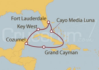 Crucero Fort Lauderdale (EEUU), Bahamas, Grand Caymán y México