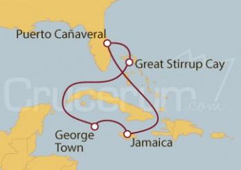 Crucero Puerto Cañaveral (Florida), Jamaica, Islas Caimán y Bahamas