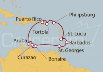 Crucero San Juan (Puerto Rico), Aruba, Granada, Barbados, Antillas e Islas Vírgenes Británicas