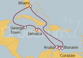 Crucero Miami (EEUU), Islas Caimán, Jamaica, Aruba, Antillas y Bonaire