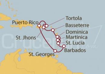 Crucero San Juan (Puerto Rico), Barbados, Antillas, Dominica e Islas Vírgenes Británicas