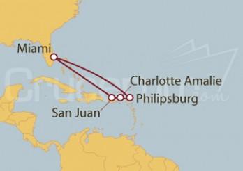 Crucero Miami (EEUU), Puerto Rico, Islas Vírgenes, St.Marteen
