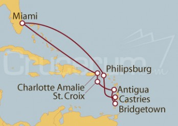 Crucero Miami (EEUU), Islas Vírgenes, Antigua, Barbados, Antillas y St.Marteen