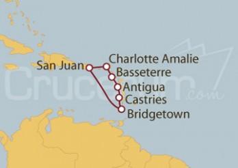 Crucero San Juan (Puerto Rico), Islas Vírgenes, St.Marteen, St Kitts, Antigua, Antillas, Barbados