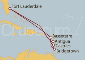 Crucero Fort Lauderdale (EEUU), Antigua, Barbados, Antillas, St.Marteen