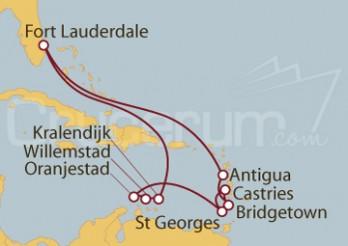 Crucero Fort Lauderdale (EEUU), Antigua, Barbados, Antillas, Granada, Aruba, Curaçao, Bonaire