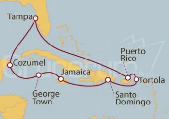 Crucero Tampa (EEUU), México, Islas Caimán, Jamaica, Rep. Dominicana,  Islas Vírgenes y Puerto Rico
