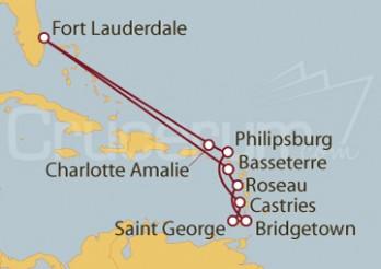 Crucero Fort Lauderdale (EEUU), Islas Vírgenes, St.Marteen, Antillas, Granada, Barbados y Dominica