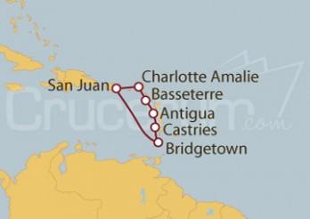 Crucero San Juan (Puerto Rico), Islas Vírgenes, Antigua, Antillas, Barbados