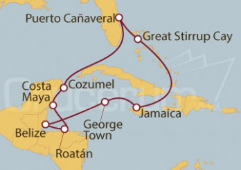 Crucero Puerto Cañaveral (Florida), Bahamas, Jamaica, Islas Caimán, Belice, Honduras y México