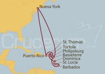 Crucero Nueva York, Puerto Rico, Islas Vírgenes Británicas, Dominica, Antillas y Barbados