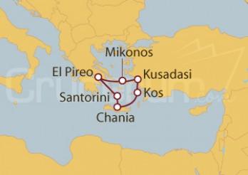 Crucero Atenas (Grecia), Kusadasi, Mikonos, Kos, Chania, Santorini