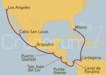 Crucero Los Ángeles (EEUU), México, Guatemala, Nicaragua, Costa Rica, Canal de Panamá, Colombia y Miami (EEUU)