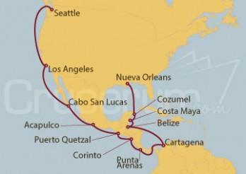 Crucero Nueva Orleans (EE.UU), México, Honduras, Colombia, Costa Rica, Nicaragua, Guatemala y  Seattle (EEUU)