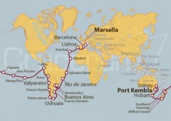 Crucero Tramo de Vuelta al mundo 2020 - De Marsella a Port Kembla (Australia)