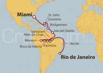 Crucero Brasil, Isla del Diablo (Guayana Francesa), Bridgetown (Barbados), Gustavia (San Bartolomé) y Miami (EEUU)