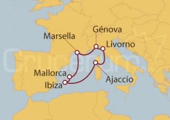 Crucero Marsella (Francia), Islas Baleares, Ajaccio, Livorno y Génova