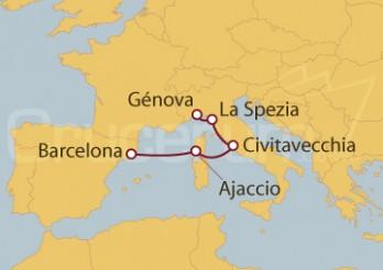Crucero Barcelona, Ajaccio, Civitavecchia y La Spezia