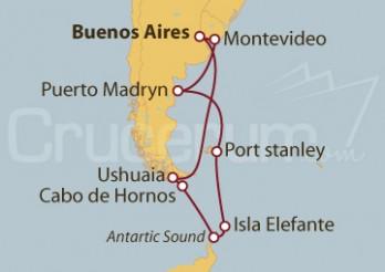 Crucero Patagonia: Buenos Aires (Argentina), Cabo de Hornos (Chile), Islas Malvinas y Montevideo