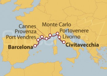 Crucero España, Francia, Mónaco, Italia