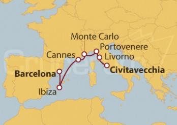 Crucero Barcelona, Ibiza, Cannes, Monte Carlo e Italia