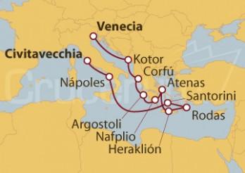 Crucero Civitavecchia (Roma), Grecia, Montenegro