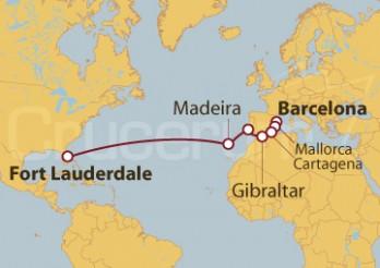 Crucero Barcelona, España, Portugal, Fort Lauderdale (EEUU)