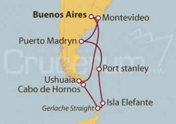 Crucero Buenos Aires (Argentina), Chile, Antártica, Islas Malvinas y Uruguay